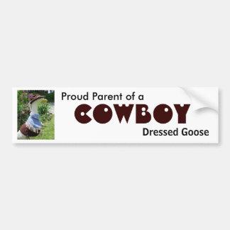 Vaquero, pegatina para el parachoques vestida del  pegatina de parachoque