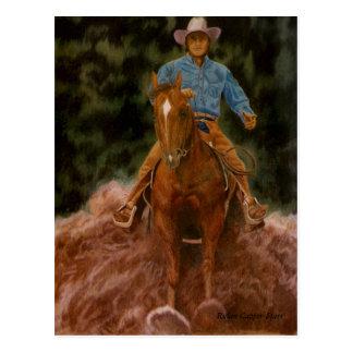 Vaquero que aumenta el polvo tarjetas postales