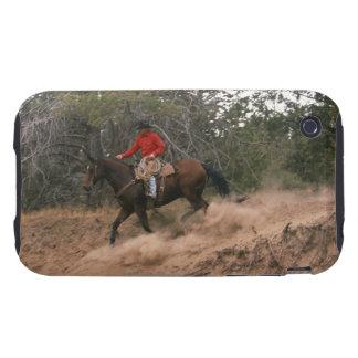 Vaquero que monta cuesta abajo iPhone 3 tough protector