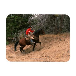 Vaquero que monta cuesta arriba imán de vinilo