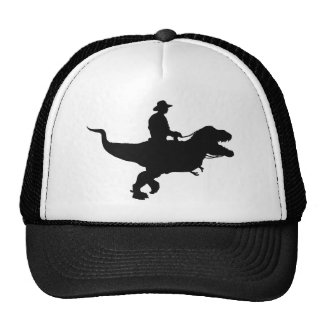 Vaquero que monta el gorra del camionero de T-Rex