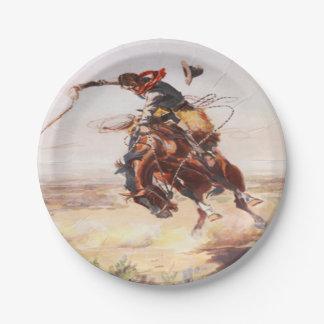 Vaquero que monta las placas Bucking del fiesta Platos De Papel