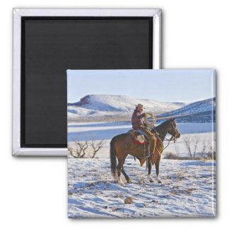 Vaquero que monta un caballo en la gama en imanes de nevera