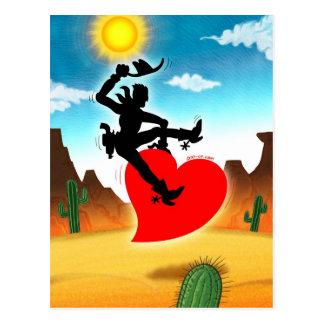 Vaquero que monta un corazón salvaje postales