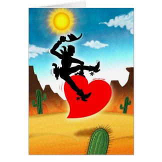 Vaquero que monta un corazón salvaje tarjeta de felicitación