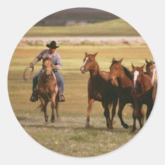 Vaquero que reúne en el rancho etiquetas redondas