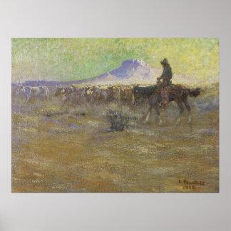 Vaquero que reúne ganado en la gama de Lon Póster