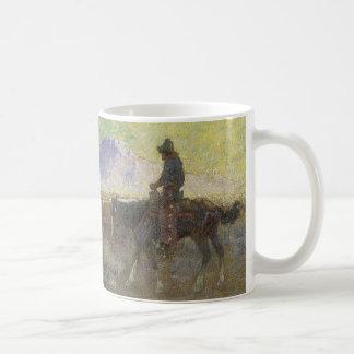 Vaquero que reúne ganado en la gama de Lon Taza De Café