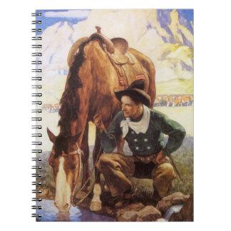 Vaquero que riega su caballo por NC Wyeth, arte Libro De Apuntes
