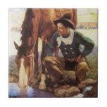 Vaquero que riega su caballo por NC Wyeth, arte de