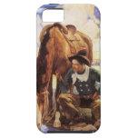 Vaquero que riega su caballo por NC Wyeth, arte iPhone 5 Coberturas