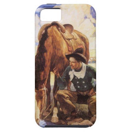 Vaquero que riega su caballo por NC Wyeth, arte iPhone 5 Funda