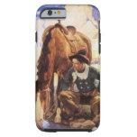 Vaquero que riega su caballo por NC Wyeth, arte Funda De iPhone 6 Tough
