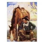 Vaquero que riega su caballo por NC Wyeth, arte Postal