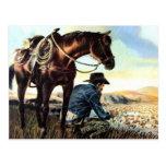 Vaquero que ruega el rosario postales
