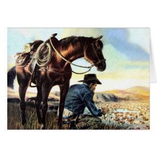 Vaquero que ruega el rosario felicitación