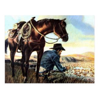 Vaquero que ruega el rosario postal