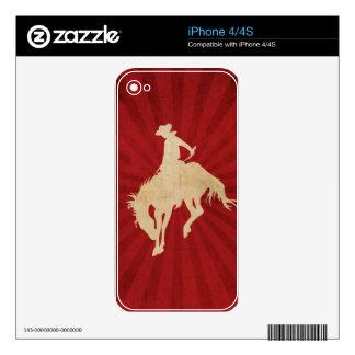 Vaquero rojo marrón del vintage calcomanías para iPhone 4S