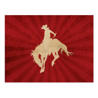 Vaquero rojo marrón del vintage tarjetas postales
