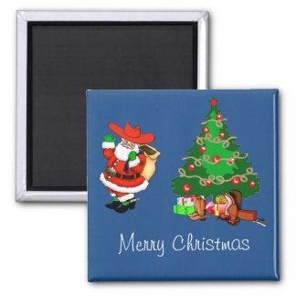 Vaquero Santa con Felices Navidad del árbol de Imán Cuadrado