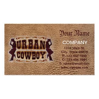 Vaquero urbano de cuero equipado occidental tarjetas de visita