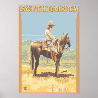 Vaquero vista lateral Dakota del Sur Impresiones