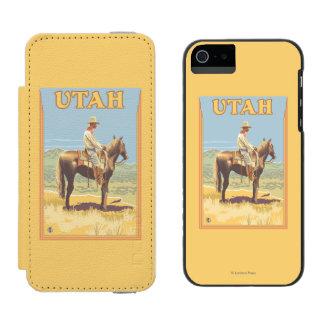 Vaquero (vista lateral) Utah Funda Cartera Para iPhone 5 Watson