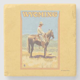 Vaquero (vista lateral) Wyoming Posavasos De Piedra