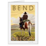 Vaquero y caballo - curva, Oregon Felicitacion