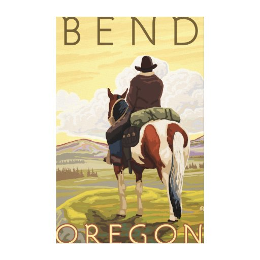 Vaquero y caballo - curva, Oregon Impresión En Tela