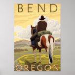 Vaquero y caballo - curva, Oregon Póster