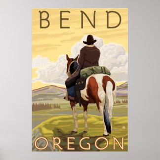 Vaquero y caballo - curva Oregon Poster