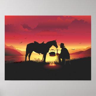 Vaquero y caballo en el poster de la puesta del so póster