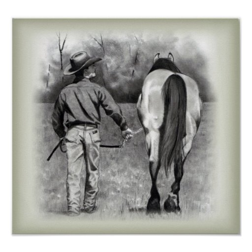 Vaquero y caballo: Lápiz del grafito del realismo: Poster