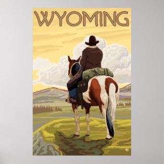 Vaquero y caballo - Wyoming Póster