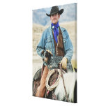 Vaquero y perro en caballo impresiones de lienzo