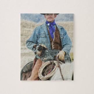 Vaquero y perro en caballo puzzle