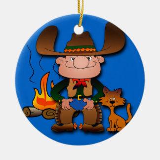 Vaquero y su gato adorno navideño redondo de cerámica