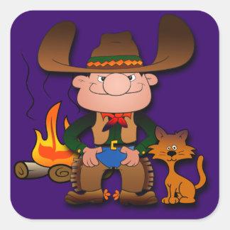 Vaquero y su gato pegatina cuadrada