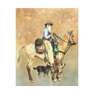 Vaquero y su impresión de la lona del Appaloosa Lienzo Envuelto Para Galerias