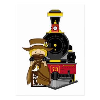 Vaquero y tren lindos de la vaquera del dibujo postal