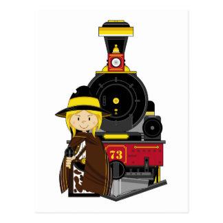 Vaquero y tren lindos de la vaquera del dibujo tarjeta postal