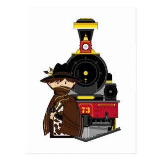 Vaquero y tren lindos del dibujo animado postales