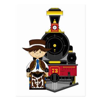 Vaquero y tren lindos del dibujo animado postal