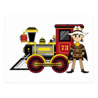 Vaquero y tren lindos del dibujo animado tarjeta postal