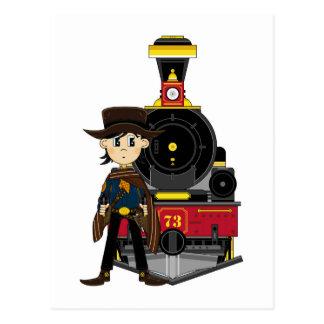 Vaquero y tren lindos del dibujo animado tarjetas postales