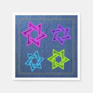 Vaqueros azules del dril de algodón de Mitzvah del Servilletas Desechables