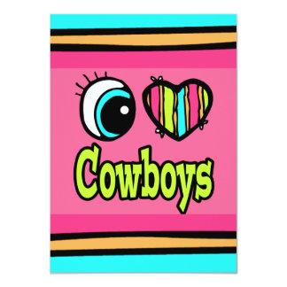 """Vaqueros brillantes del amor del corazón I del ojo Invitación 4.5"""" X 6.25"""""""