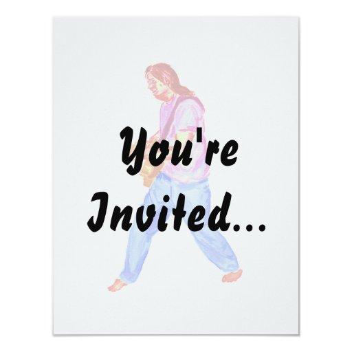 vaqueros de la camisa del rosa del jugador de la invitación 10,8 x 13,9 cm
