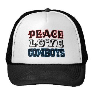 Vaqueros del amor de la paz gorras de camionero